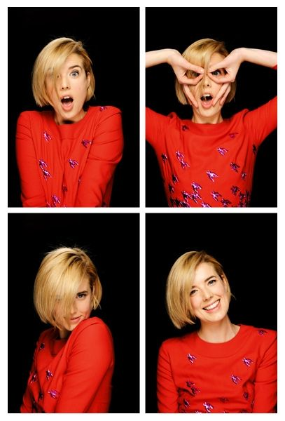 Agyness Deyn in the photobooth at Empire, oh my GOD! how cute her smile n hair , loVe it!