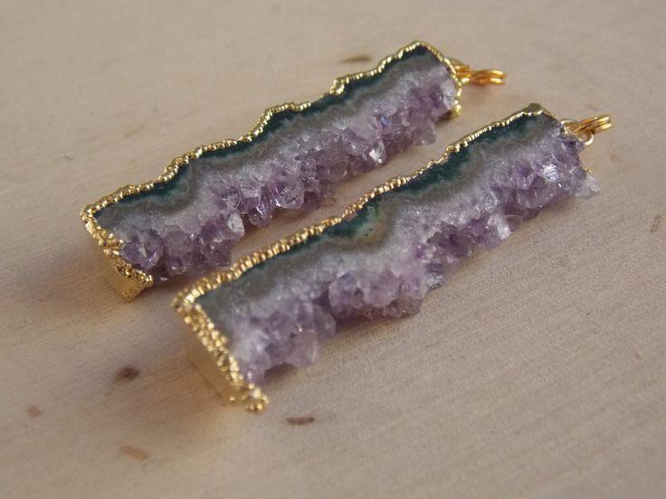 Raw Amethyst / Amethyst Slices / Amethyst Slice Connectors / Amethyst Slice Pendant / Pair of Amethysts / Amethyst Connectors by Loft12Studios on Etsy