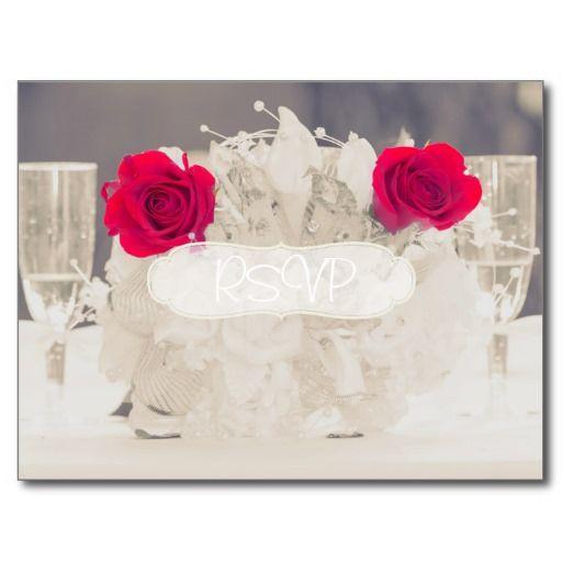 White Wedding Invitation RSVP with Photo Postcard