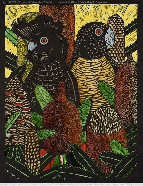 Black Cockatoos with Banksia by Australian artist Leslie Vander Sluys