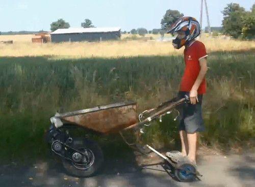 DIY motorized wheelbarrows... to race with!