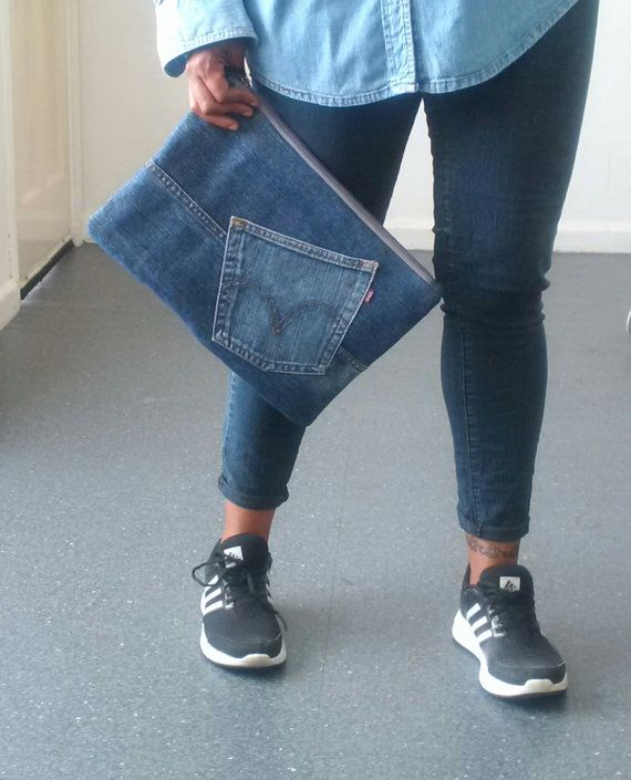 recycled denim jeans clutch bag, large denim clutch, upcycled, man bag, jeansbag, denim clutch, denim pouch, repurposed, levis,kindle,tablet