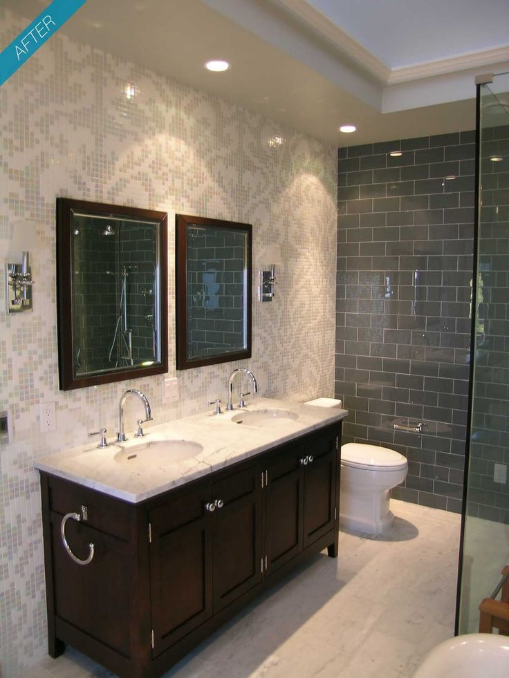 Bathroom remodel inspiration.: Bathroom Design, Modern Bathroom, Bathroom Remodel, Bathroom Ideas, Bathroom Interiors Design, Tile Bathroom, Remodel Inspiration, Wall Design, Bathroom Gray