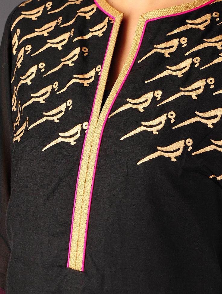 Black - Golden Khari Handblock Printed Cotton - Silk Kurta with Palazzos