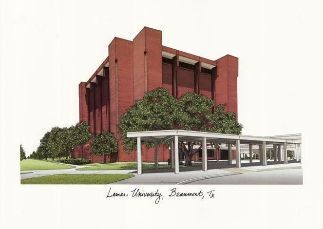 Lamar University Campus Images Lithograph Print