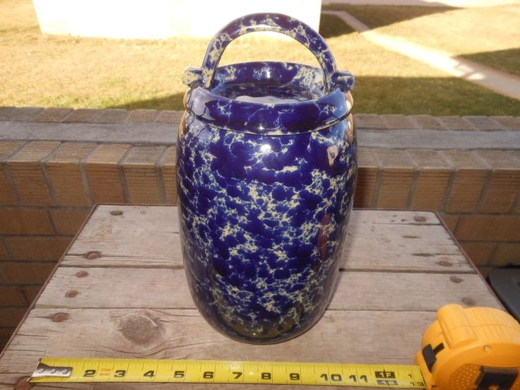 Bennington Pottery Vermont Large Crock 2225 with matching Lid Rare and Pristine!