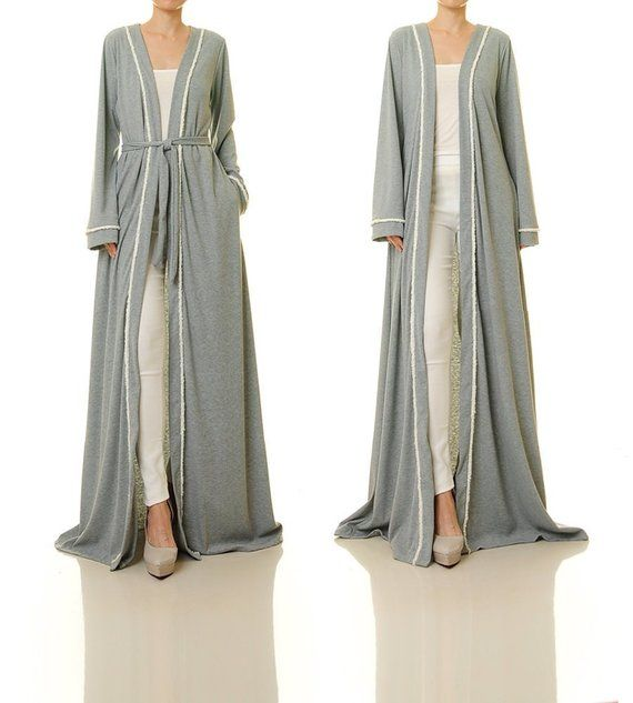 Stone//Grey Tie Sleeve Duster Coat PLUS SIZE AVAILABLE