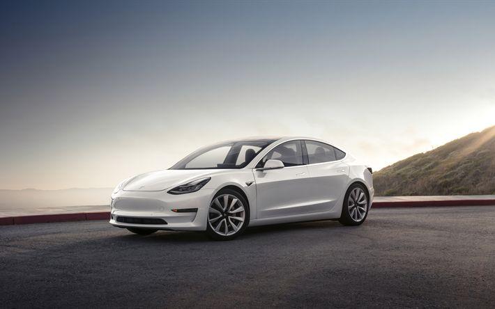 Download imagens 4k, Tesla Model 3, 2017 carros, branco Modelo 3, carros elétricos, Tesla