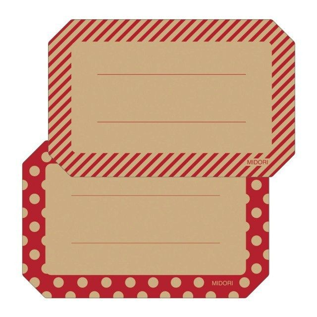 Midori Message Stickers - Red - 2 designs - 12 labels from Bookbinders Online