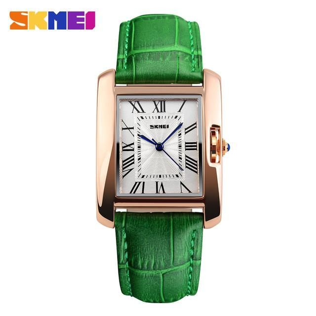 New 2017 Rose Gold Watch Women Leather Band Square Dial Quartz Analog Wrist Watch Fashion Luxury Women Watches relogio feminino