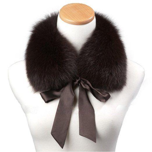 Genuine Fox Fur Collar Scarf Shawl Wrap Neck Warmer