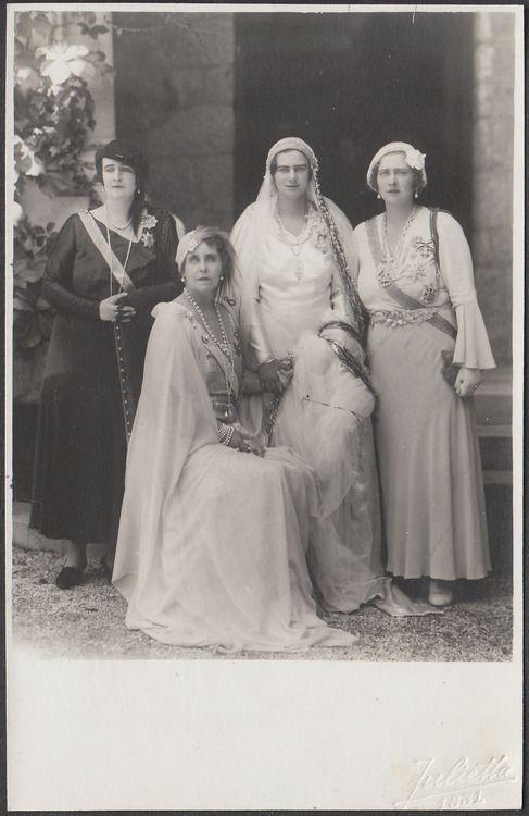 Queen Marie of Romania and her three daughters :Queen Elisabeth of Greece  the bride, Archduchess Ileana of Austria- Tuscany and Queen Marie of Yugoslavia.