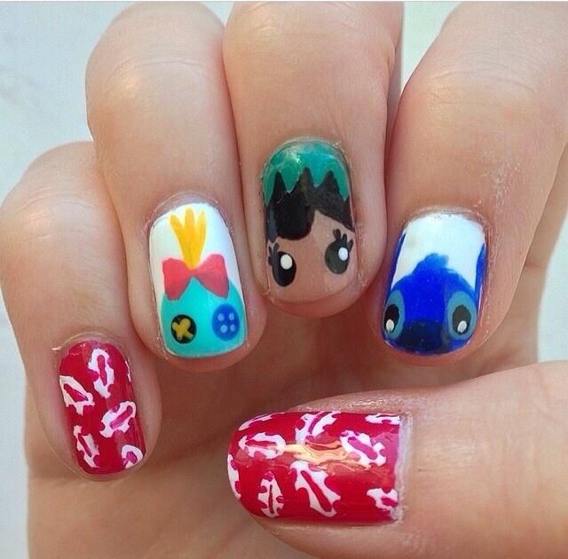 Lilo and stitch nail art