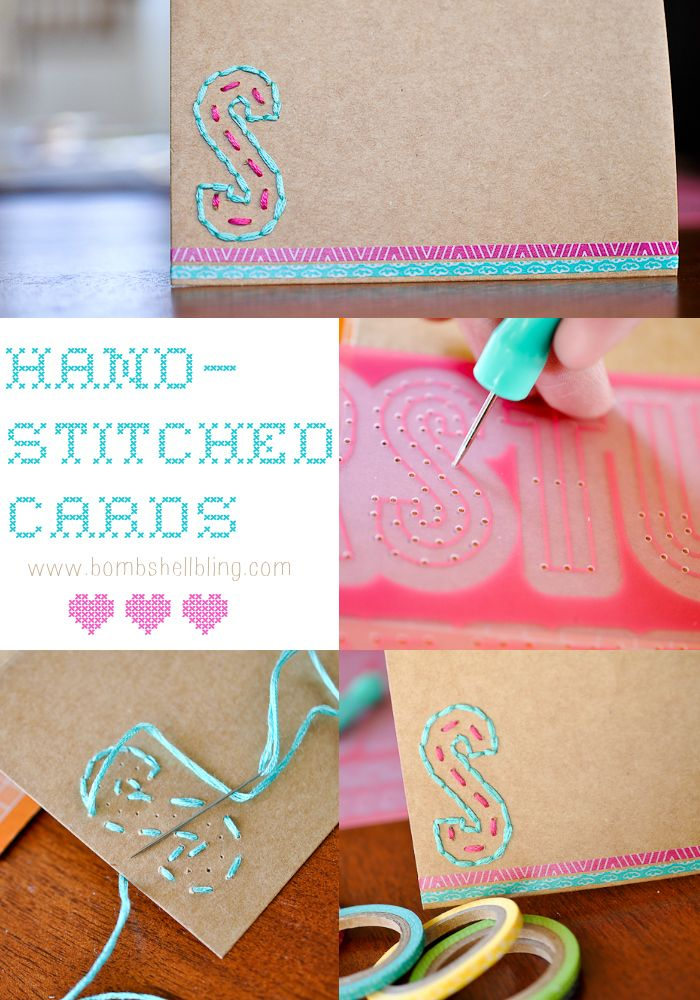 How to create hand stitched thank you cards via @Sarah McKenna of Bombshell Bling using @Amy Tangerine #PlusOne collection