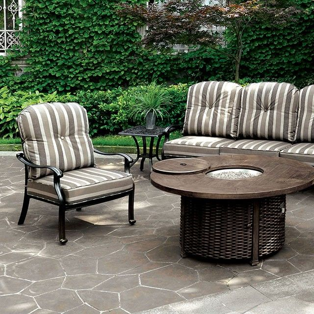 Share fond memories or scary ghost stories while cozying up with this lovely outdoor patio set.  #JMDFurniture #FurnitureOfAmerica #OutdoorFurniture