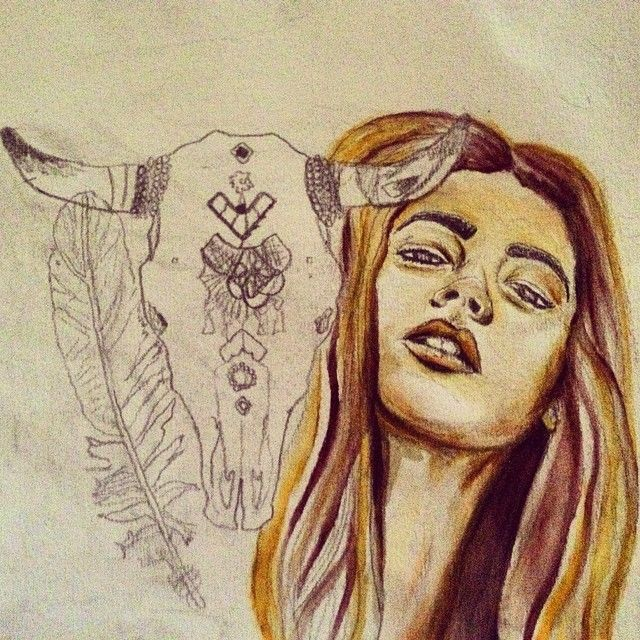 #cowskull #boho #art #fashionillustration #fashionillustrator #artist #watercolor #girl #dreamer #freespirit #nativeamerican #alluramaison