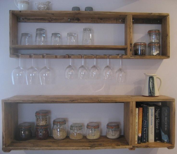 These shelves were made for a kitchen specifically for glasses and kilner jars. They are made from reclaimed floorboards from a local Victorian house and as such are about a hundred years old. They have been rough sanded and left untreated to give a strong rustic feel.