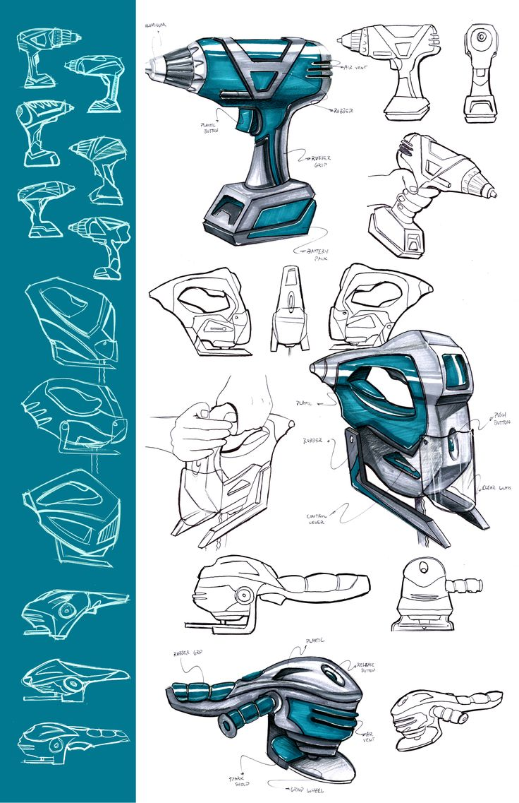Power Tool Sketch Marker Rendering. Industrial Design. Product Design.
