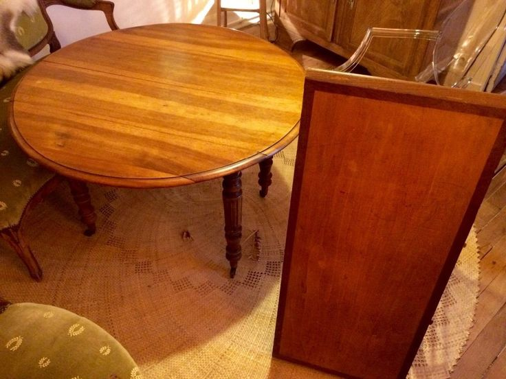 table ronde ancienne ch ne massif rabat rallonge 4 pieds ebay meubles pinterest. Black Bedroom Furniture Sets. Home Design Ideas