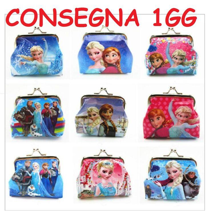 10 portamonete principessa Anna Elsa Frozen gadget regalo fine festa compleanno Bambina. Vengono inviati un mix di design così come da foto. Se acquisti anche un altro prodotto da abbinare (es anellino frozen,...) vengono confezionati con bustina e fiocco fucsia.