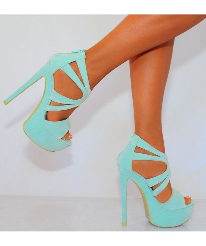 Koi Couture Ladies Mint Green High Heels - HeelsFans.com These strappy little sandals are a hit & oh so pretty in mint..K♥♥♥