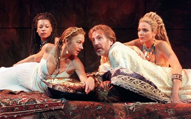 Helen Mirren as Cleopatra in 1988, alongside Alan Rickman