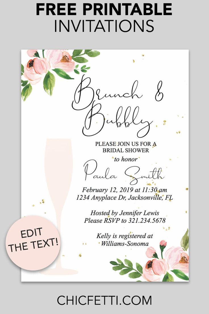 Bridal Shower Printable Invitation Floral Bubbly With Images