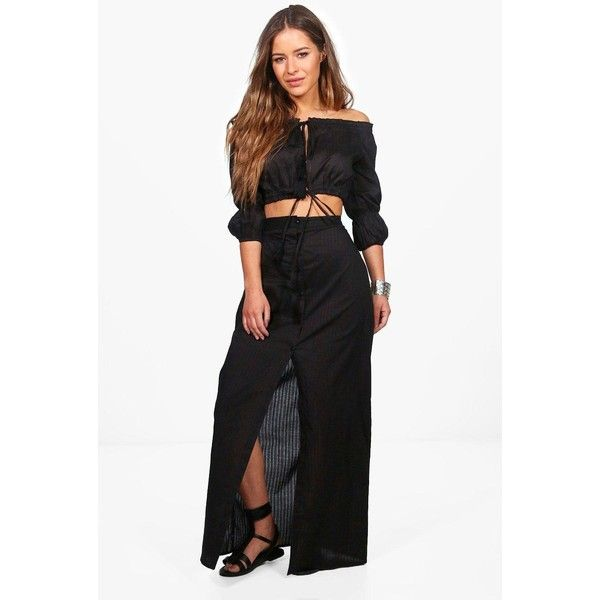 Boohoo Petite Sofie Off The Shoulder Beach Co-ord Set ($40) ❤ liked on Polyvore featuring swimwear, bikinis, off the shoulder bikini, high waisted bikini swimwear, beach bikini, triangle swimwear and beach wear