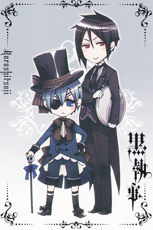 Ciel and Sebastian (from BLACK BUTLER) Must read/watch because very funny and mysterious ^v^ oh! And sexy^^  (Background Info: actually black butler should be a yaoi manga but Yana toboso changet the genre, to sell it better)