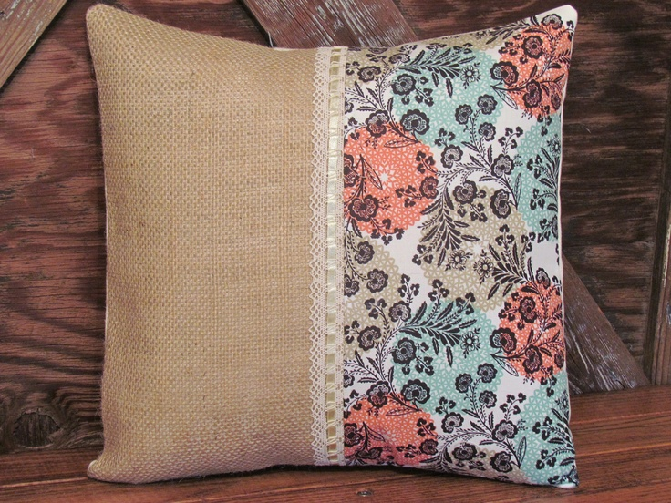 Peach & TurquoisePlump Pillows, Turquoise, Pillows Fun, Crafty, Peaches Burlap, Burlap Rustic, Rustic Pillows, Throw Pillows, Products