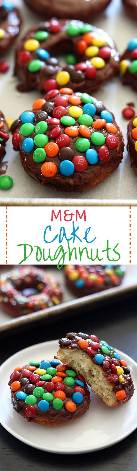 M&M Cake Doughnuts are fried perfection, topped with a thick chocolate glaze and crunchy m&m candies and are way quicker to make than yeast doughnuts!