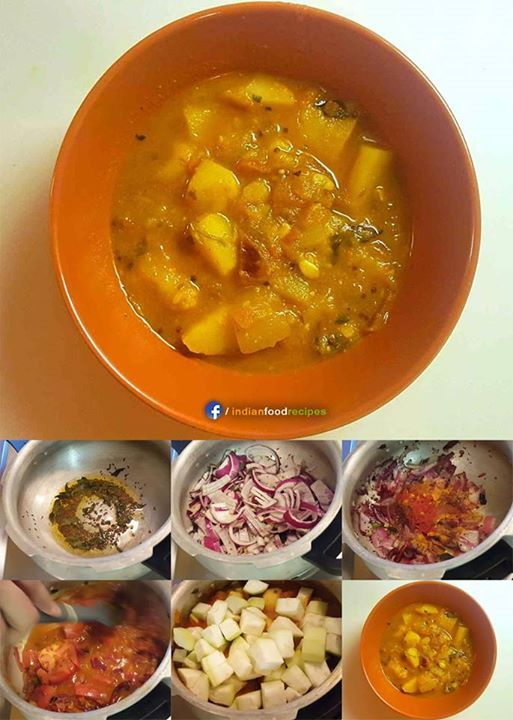 Indian Potato Curry recipe step by step आलू करी  (This is a simple vegetarian Indian dish made using potatoes, calabash (lauki), onions, tomatoes, and spices. This is one of my favorite dishes and I'm using my mom's recipe. Most Indian recipes posted here are from my mom's kitchen. Calabash is one of the lowest calorie vegetables and has a lot of vitamins.)  View recipe by Mohammed Adil Ali http://www.themuchotasty.com/potatocurry/ #ladyloungedotnet