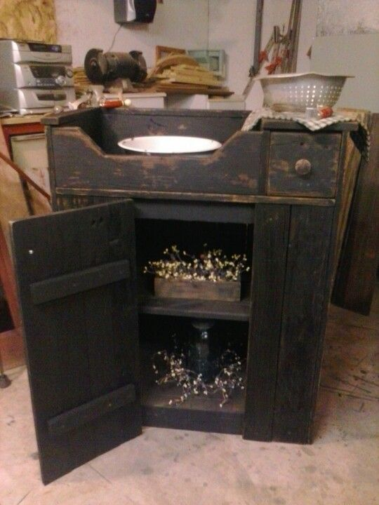 Primitive small barn wood dry sink ~ Can be made in to a working piece of Furniture for a Guest room or...used for the very intention it was for in the first place. Lovely, however one decides to use it....<3