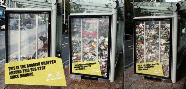 La basura tirada en el bus desde el lunes