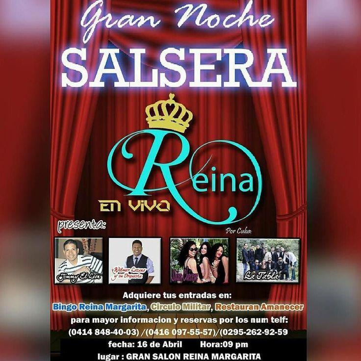-  Lo que esperabamos GRAN NOCHE SALSERA el 19 de abril a las 9:00pm en el Salon Reina Margarita. Por #VENEZUELA el Ex Adolescente #WilmerLozano y #JimmyElLeon de la Salsa. Por #CUBA las bellas chicas de #SalsaChevere y la agrupacion #LaTabla  Una rumba que no te puedes perder llena de #Sabor #Timba #Salsa #Gozadera y sobre todo #RITMOYCACHE. #Regrann