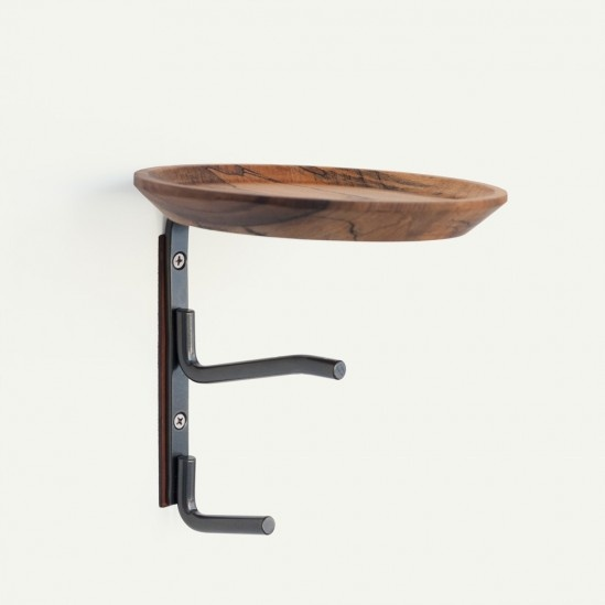 Plate Hook Pewter Powder Coated Stainless Steel Turned Magnolia Dish Above Two Heavy Wedge Hooks Leather Base R
