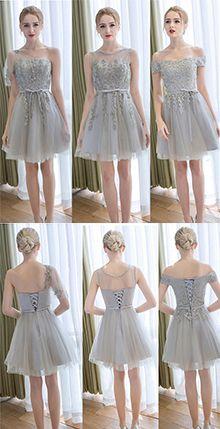 Gray Short Bridesmaid Dress With Belt,Tulle Bridesmaids Dresses,Appliqued Bridesmaid Dress,Short Prom Gown,Short Graduation Dress,Homecoming Dress.Sweet 16 Dress