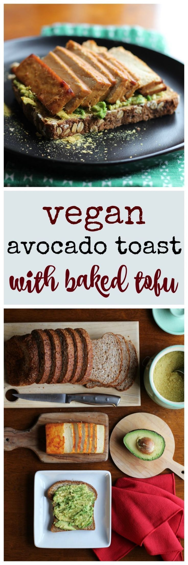This simple vegan avocado toast recipe includes baked tofu and a sprinkling of nutritional yeast flakes. Save time by using packaged baked tofu. Teriyaki tofu & sriracha tofu are particularly good. This delicious start to the day has a hit of protein and fat to keep me going until lunchtime. via @cadryskitchen #NutritionalYeast
