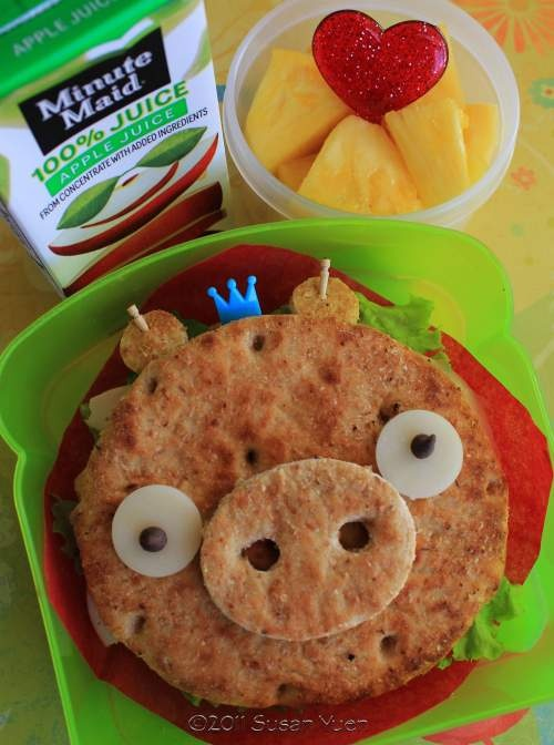 What a neat idea to get the kiddos to eat healthy. Angry Bird's Pig.