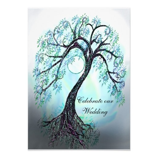 Tree Of Life Invitation Rsvp Celtic Life By: Blue Tree Of Life Wedding Invitation