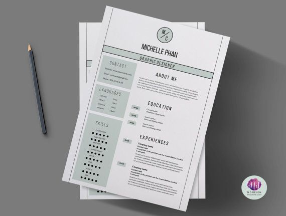Modern clean resume template cover letter by ChicTemplates