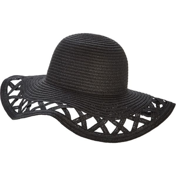V By Very Cut Out Floppy Straw Hat ($15) ❤ liked on Polyvore featuring accessories, hats, summer hats, beach hat, flop hat, summer straw hats and straw hat
