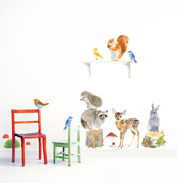 Woodland Animals Wall Decals, Fabric Wall Stickers ( Not Vinyl, PVC free ) Size Medium