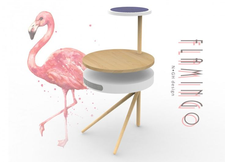 Flamingo è un amico fedele: ti accompagna in giardino e protegge i tuoi oggetti tecnologici dal sole.  N•GH design Gnocchi Valentina Heuvelmans Carmen Nobile Alessia