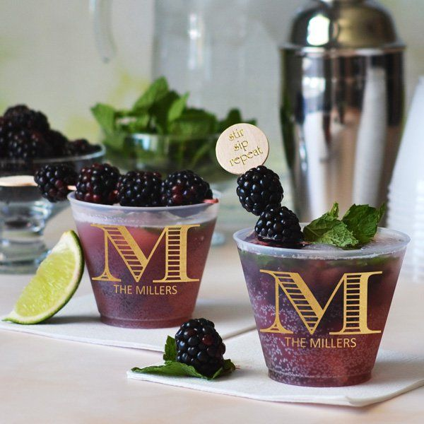 Make  a memorable drink with these personalized cups for your reception cocktail hour. Let your guests take these as favors and they will be able to enjoy them for years to come. Find these cups here: http://myweddingreceptionideas.com/9_oz_personalized_frosted_plastic_cups.asp
