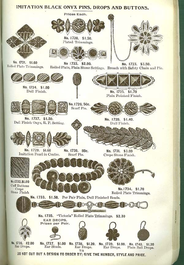 Mourning jewelry catalog page.                                                                                                                                                                                 More