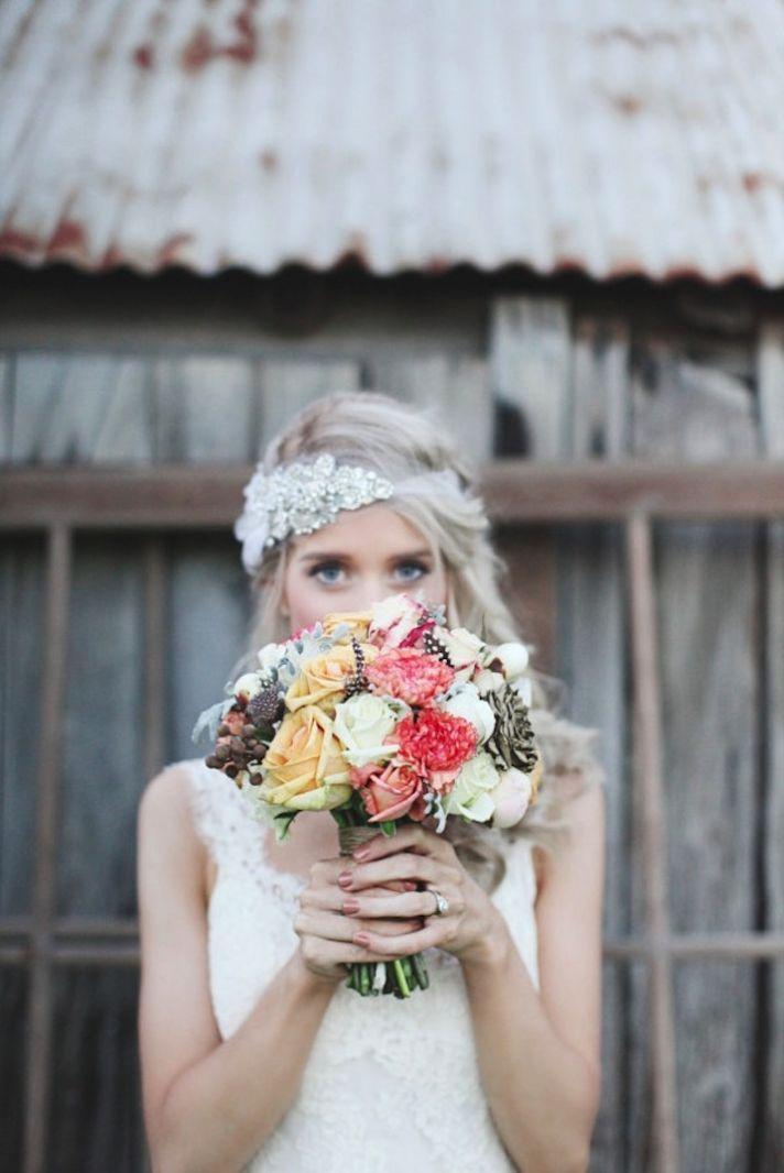 Glam girls! Consider a sequin & crystal bandeau-style bridal headband