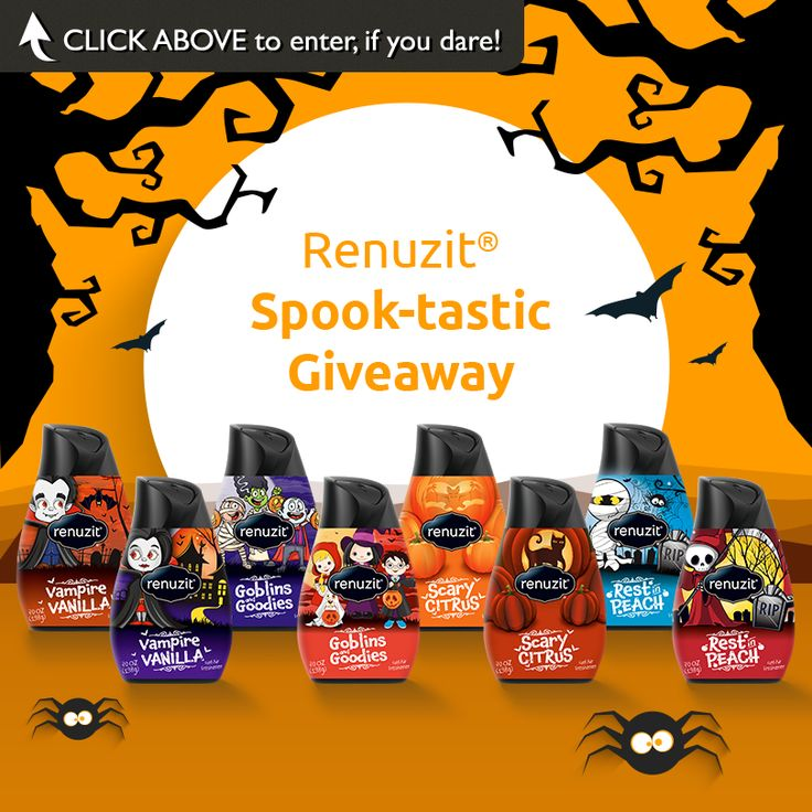 """Renuzit® Spook-tastic Giveaway""   Enter for your chance to win a prize pack filled with all the essentials for a spook-tastic Halloween – Including Renuzit® limited edition Halloween cones! 1 winner a week.  Enter today, if you dare!"