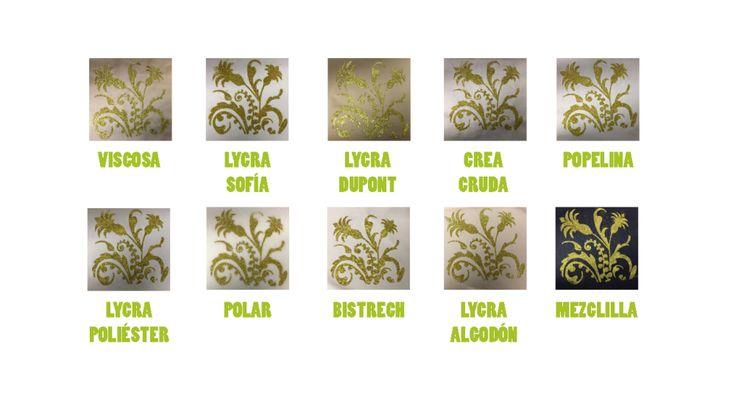 .Muestras de el proceso de estampado con escarcha o glitter terminado en distintas telas.