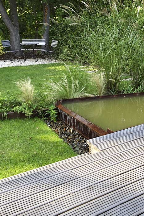 garden deck and pond